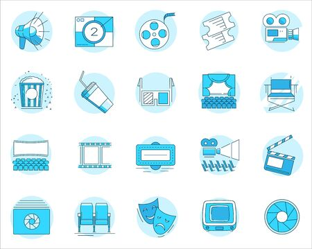 Modern linear pictogram of cinema and theater. Set of cinema and theater icons. Premium quality outline symbol collection. Perfect for website, mobile apps, catalogue, booklet, promotional products