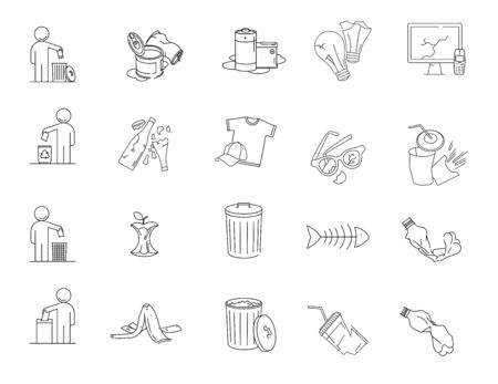 Modern linear pictogram of garbage. Set of concept line icons garbage. Garbage icons. Waste garbage metal, glass, paper, plastic, food, electronics, organics. Sorting of waste. Sorting of garbage.