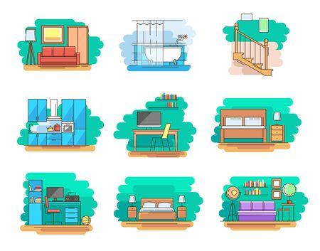 Modern linear pictogram of home room and types furniture. Set of concept line icons home room and types furniture. Home room. Types furniture. Kitchen. Living room. Bedroom. Workplace. Bathroom Foto de archivo - 137120738
