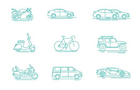 Modern linear pictogram of transportation. Set of concept line icons transportation. Transportation. For web design, applications, catalogue, booklet, promotional products, infographics, print design