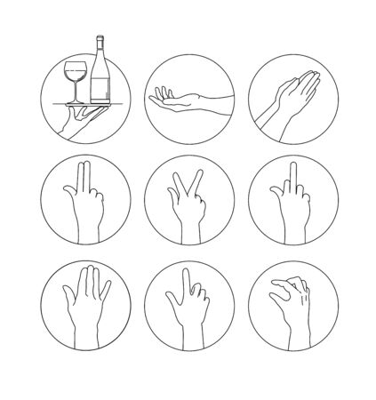 Set of signs hands. Set of vector hands. Hand vector icons set. Sketching of hand gestures. Illustration of 9 hands icons for web design, presentation, applications, mobile interface, printed design