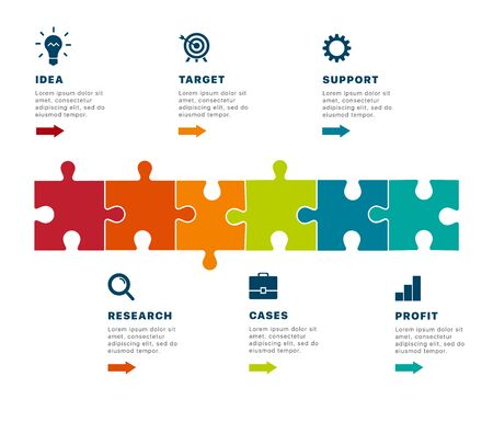 Infographics. Puzzle infographics creating a successful business. Template business infographics for your successful business project. Modern business infographic puzzle. Vector illustration