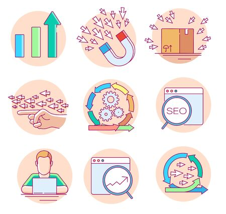 Modern linear pictogram of seo and website statistic. Set of concept line icons for seo and website statistics. UI/UX for web design, applications, mobile interface, infographics and print design