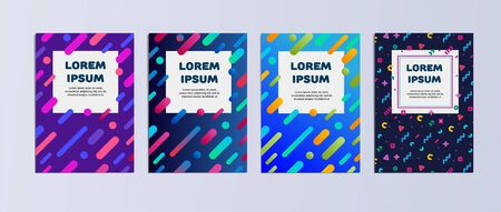 Vector template covers with geometric pattern. Set of vector cover templates. Modern set of covers. Composition of shapes on the covers. Creative cover design. Vector template Eps10 file Ilustracja