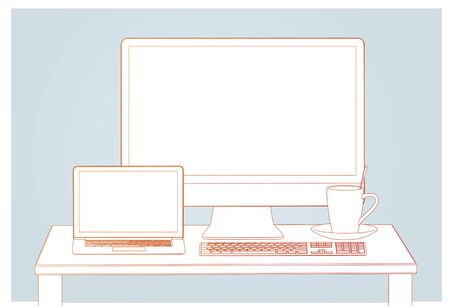 Workplace. Working place at the table. Laptop, monitor, keyboard and cup on the desktop. Linear style. Linear design. Vector illustration Eps10 file Ilustracja