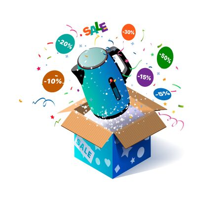 Open textured box with electric kettle and confetti explosion inside and on white background. Lottery. Promotional banner. Illustration for advertising decoration of stores and for a raffle prizes Ilustracja