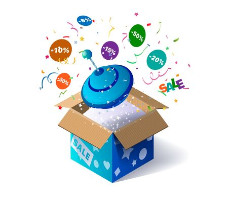 Open cardboard box with spinning top toy and confetti explosion inside and on white background. Promotional banner. Illustration for advertising decoration of stores and for raffle prizes Ilustracja