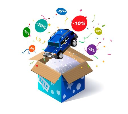 Open cardboard box with toy car and confetti explosion inside and on white background. Winning gifts lottery. Promotional banner. Illustration for advertising decoration of stores and for raffle prize