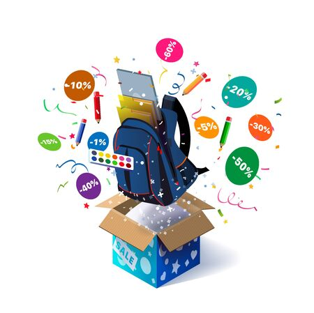 Open textured box with school backpack and confetti explosion inside and on white background. Promotional banner. Illustration for advertising decoration of stores and for raffle prizes.