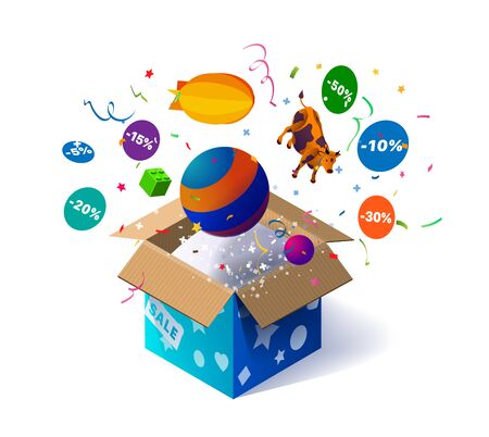 Open cardboard box with kids toys and confetti explosion inside and on white background. Lottery. Promotional banner. Illustration for advertising decoration of stores and for raffle prizes Ilustracja