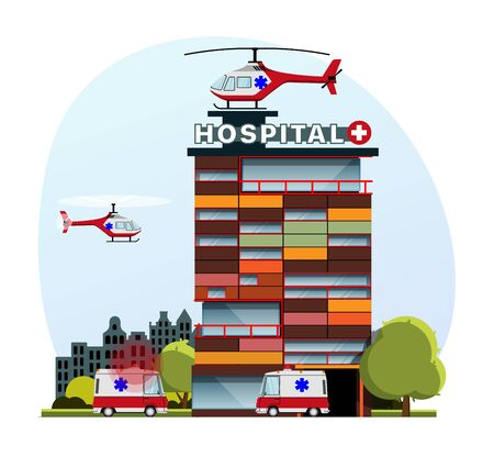 Medical insurance, hospital facilities and services, modern flat vector concept digital illustration. Hospital building with an ambulance car and a helicopter above, medical office or laboratory