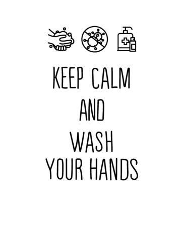 Keep calm and wash your hands. Creative typography poster concept for quarantine against epidemic. Ilustracja