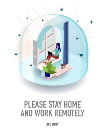 Leave the office and work remotely. Worker works at home. Creative typography poster concept for quarantine against epidemic covid-19. warning isometric illustration on white background. Ilustracja
