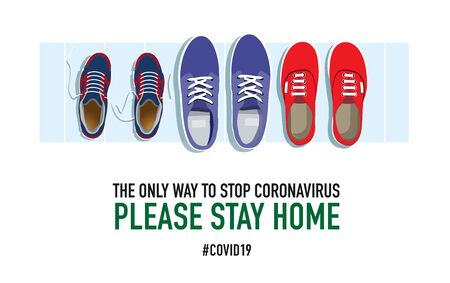 Please stay home. Family shoes near the front door. Creative typography poster concept for quarantine against epidemic covid-19. Warning illustration on white background. Ilustracja