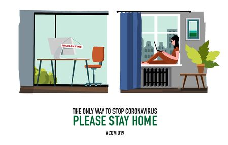 Leave the office and work remotely. Worker works at home. Poster concept for quarantine against epidemic covid-19. warning isometric illustration on white background. empty office and home workplace