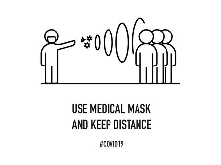 Use medical masks and keep your distance. Warning banner on a white background. Creative typography poster concept for quarantine against epidemic covid-19. Ilustracja