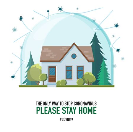 Please stay home. Creative typography poster concept for quarantine against epidemic coronavirus. Typography Modern lettering warning quote isolated on white background