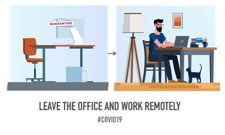 Empty office and home workplace. Typography poster concept for quarantine against epidemic covid-19. Warning illustration on white background. Ilustracja