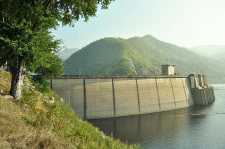 infrastructures: Bhumipol concrete dam with nature background in Trat province, Thailand