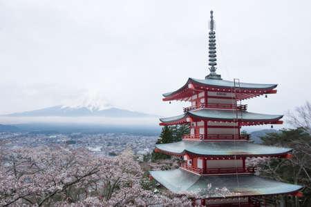 chureito: Chureito Pagoda with mount Fuji in cloudy day Editorial