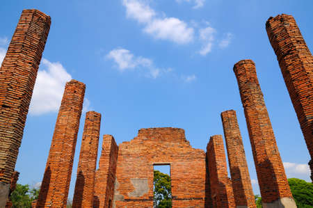 Wat Mahathat, a ruined ancient Buddhist temple with blue sky in Ayutthaya province, Thailand