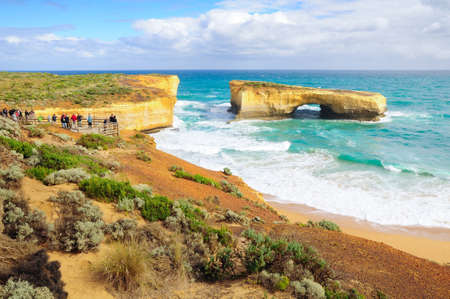 London Arch, the natural archway and tunnel in an impressive offshore rock formation, Great Ocean Road route, Melbourne, Australia