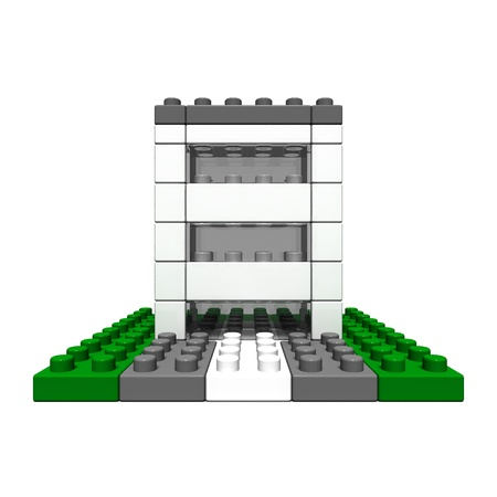 office buildings (made of toy blocks)