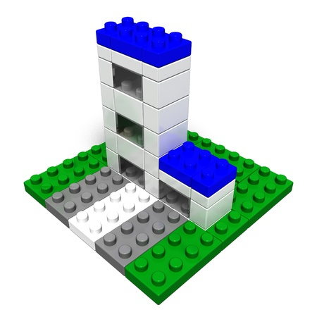 buildings (made of toy blocks) Stock Photo