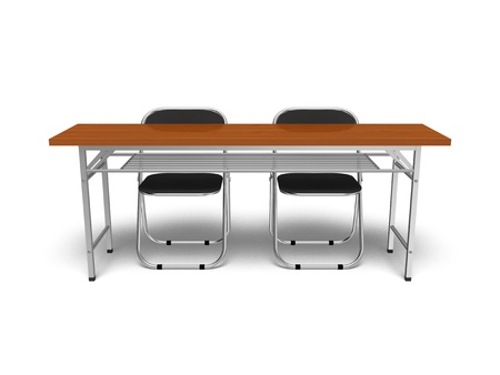 Folding chairs and desk Stock Photo