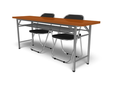 Folding chairs and desk Stockfoto
