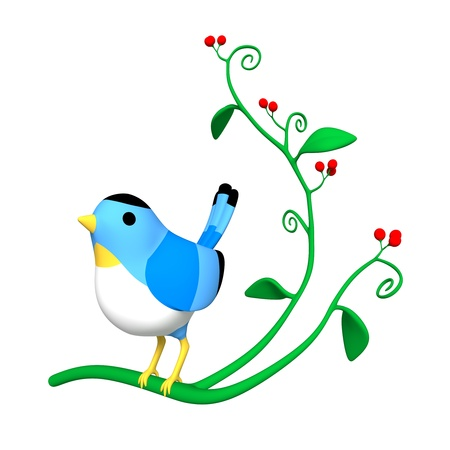 systemic: Blue Bird are sitting on the branch  Stock Photo
