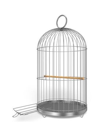 silver perch: Birdcage Stock Photo