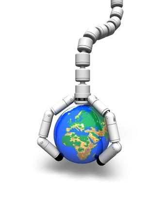 manipulator: Lift the earth by the manipulator  Stock Photo