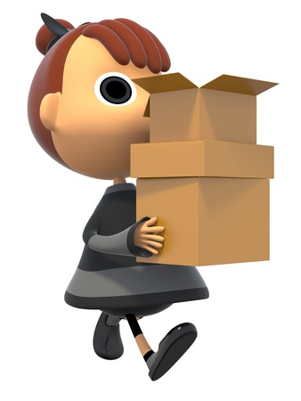 Carrying a cardboard box Stock Photo - 17921702