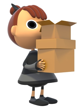 Carrying a cardboard box Stock Photo - 17921684
