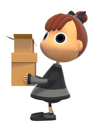 shiniyon: Carrying a cardboard box