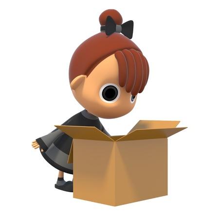 shiniyon: Look in a cardboard box Stock Photo