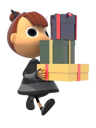 shiniyon: Carrying a gift box Stock Photo