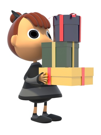 Carrying a gift box Stock Photo