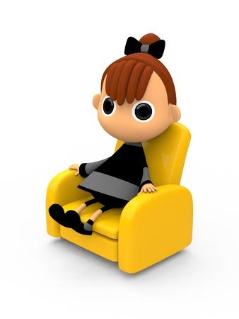 shiniyon: Sitting on a sofa. Stock Photo