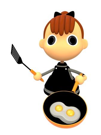 shiniyon: Cooking a fried egg Stock Photo