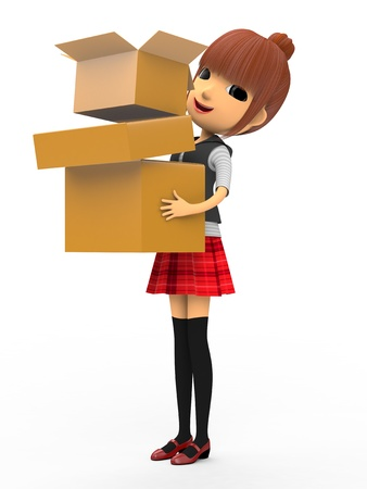 Carrying a cardboard box Stock Photo - 18704983