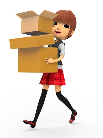 Carrying a cardboard box Stock Photo - 18704980