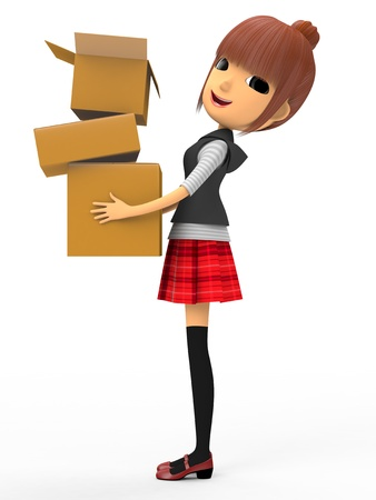 Carrying a cardboard box Stock Photo - 18704977