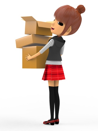 Carrying a cardboard box Stock Photo - 18704984