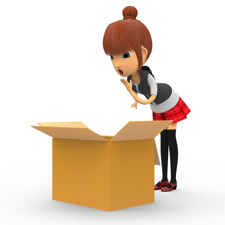 Looking in a cardboard box. Stock Photo - 18704976