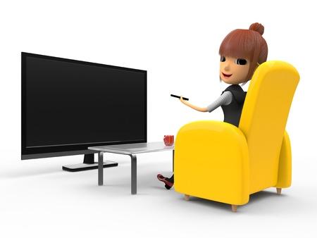 shiniyon: Watching TV Stock Photo