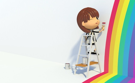 Girl painting rainbow on wall