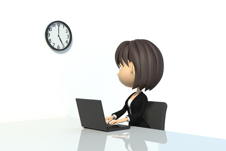 elapsed: Businesswoman to see the clock Stock Photo
