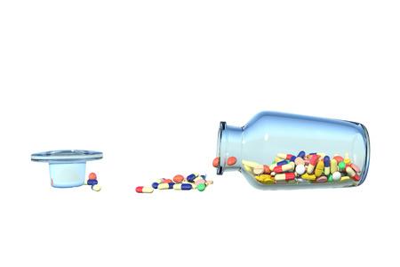 Medicine spilling bottle falls down photo